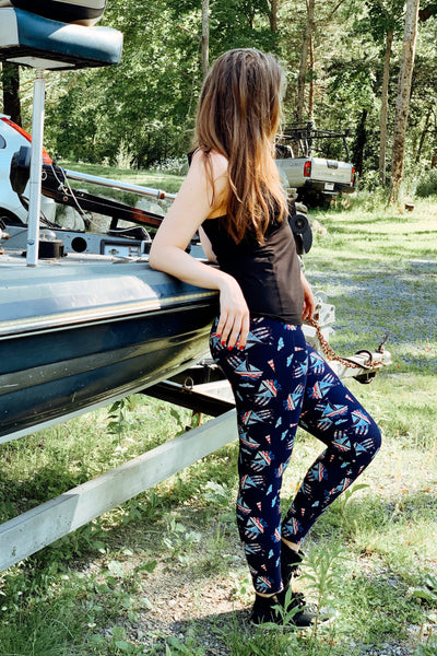 sail boat brown white black christmas reindeer leggings  buttery Soft Microfiber High Waist Fashion Patterned Celebrity Leggings for Women one size