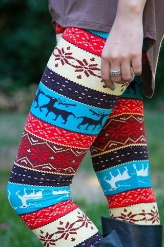 Blue/Orange Reindeer Nordic Christmas Knit Print Leggings