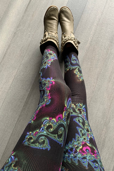 Purple/Yellow Swirl Print QUEEN SIZE Leggings