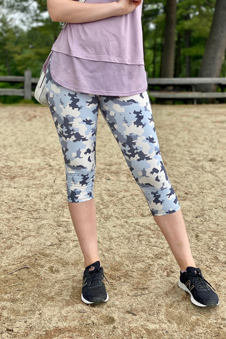 Purple Flower Print Leggings
