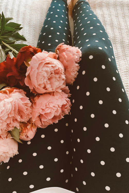 Black Polka Dot Print Leggings