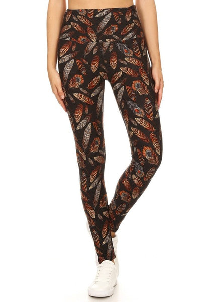brown orNGE feather yoga waist buttery Soft Microfiber High Waist Fashion Patterned Celebrity Leggings for Women one size
