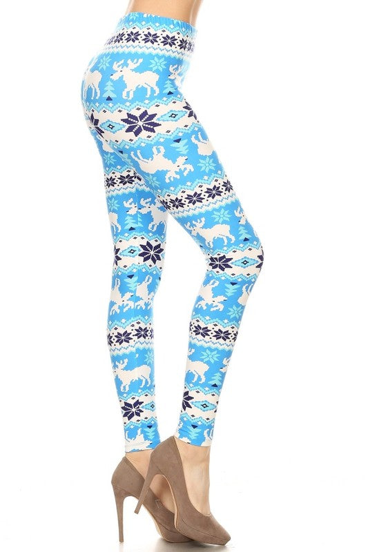 Blue/White Reindeer Christmas Print Leggings