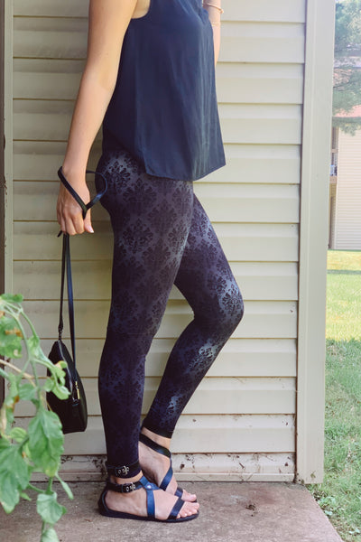 Yoga Waist Grey Damask Print Leggings