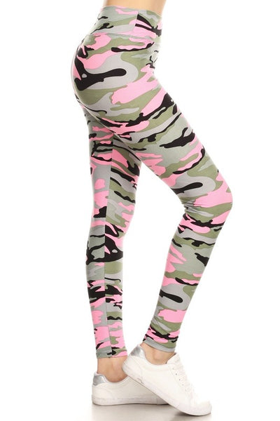 Yoga Waist (5 inch)Pink Army Print Leggings