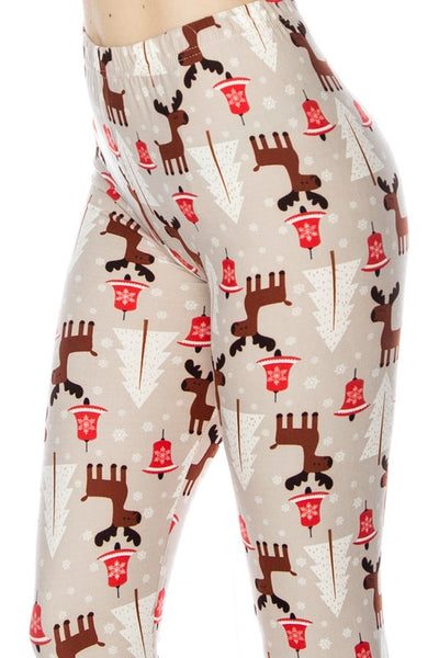 Beige/Red Reindeer Nordic Holiday Christmas Print QUEEN SIZE  Leggings