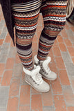 christmas nordic festive sweater holiday print buttery Soft Microfiber High Waist Fashion Patterned Celebrity Leggings for Women one size