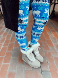 Blue/White Reindeer Christmas Print QUEEN SIZE Leggings