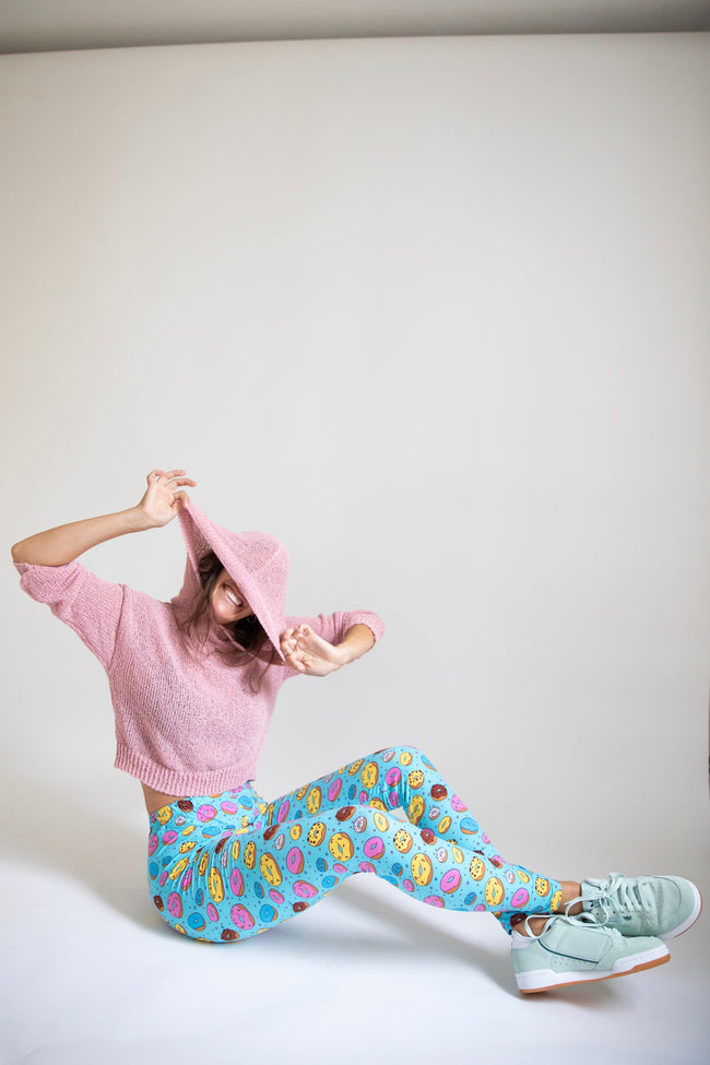 Blue Donut Print Leggings