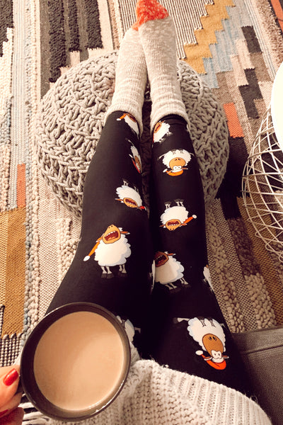 Christmas Sheep Print Leggings
