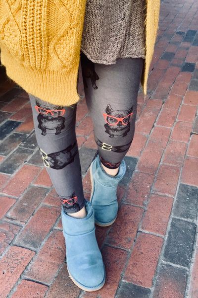 grey french bulldog in glasses buttery Soft Microfiber High Waist Fashion Patterned Celebrity Leggings for Women one size
