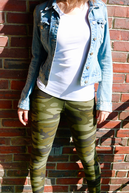 Yoga Waist Striped Army Print Leggings