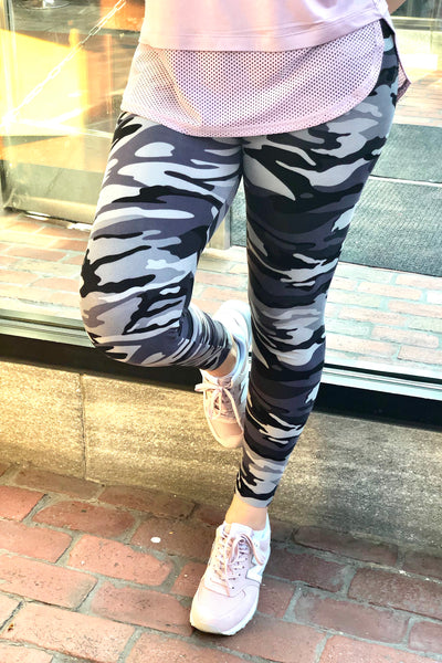 grey army yoga waist buttery Soft Microfiber High Waist Fashion Patterned Celebrity Leggings for Women one size
