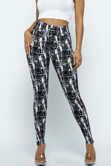 Black/White Abstract Print Leggings