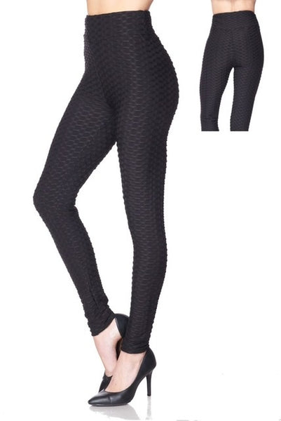 Solid Textured Yoga Waist Leggings