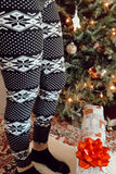 Black/White Nordic Snowflake Print Queen Size Leggings
