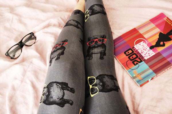 Hipster Frenchie Print QUEEN SIZE Leggings