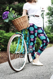 teal pink pineapple buttery Soft Microfiber High Waist Fashion Patterned Celebrity Leggings for Women plus size