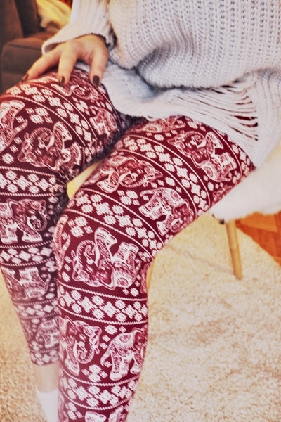 Burgundy Elephant Print Leggings