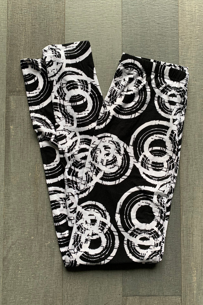 Black/White Abstract Boho Print QUEEN SIZE Leggings