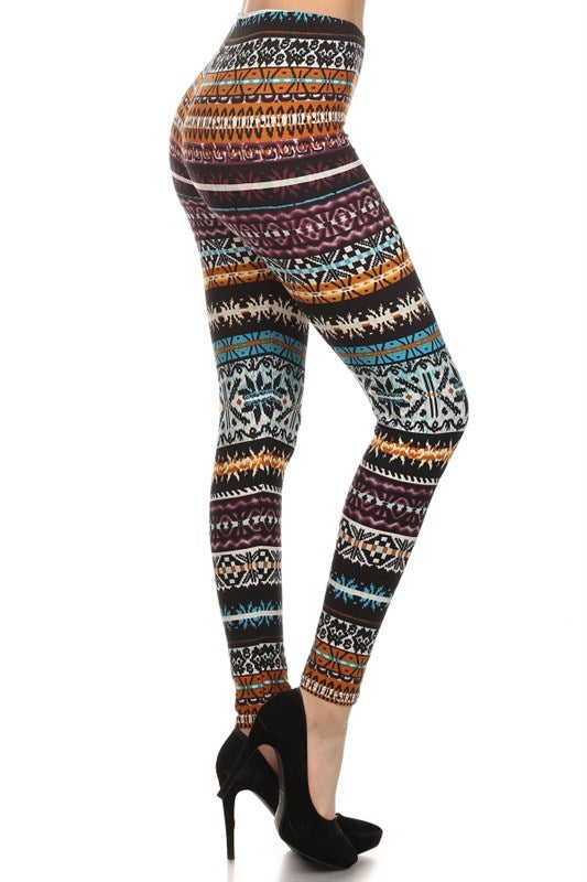 Multicolor Nordic Knit Print Leggings