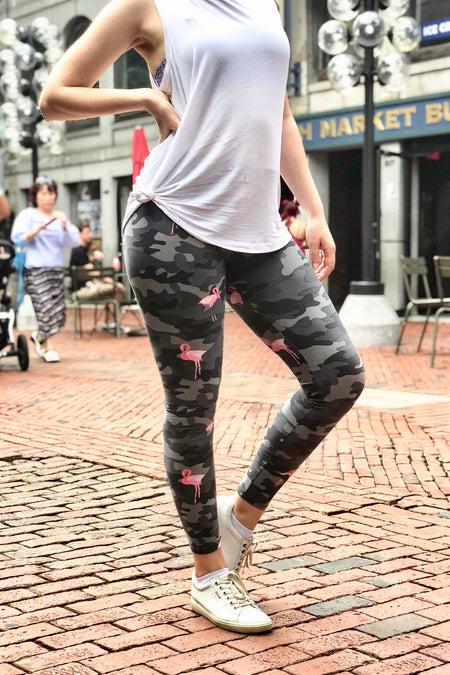 Yoga Waist Brown Floral Print Leggings