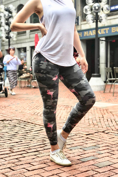 grey flamingo army camouflage yoga waist buttery Soft Microfiber High Waist Fashion Patterned Celebrity Leggings for Women one size