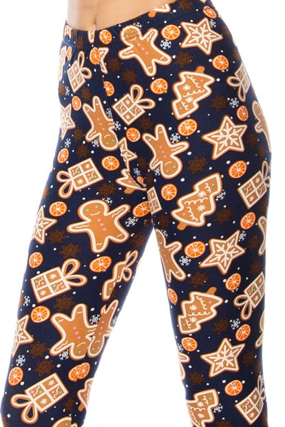 Gingerbread Cookie Print Christmas Print QUEEN SIZE Leggings