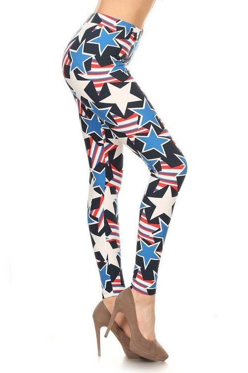 american flag Ultra Soft Microfiber High Waist Fashion Patterned Leggings for Women one size