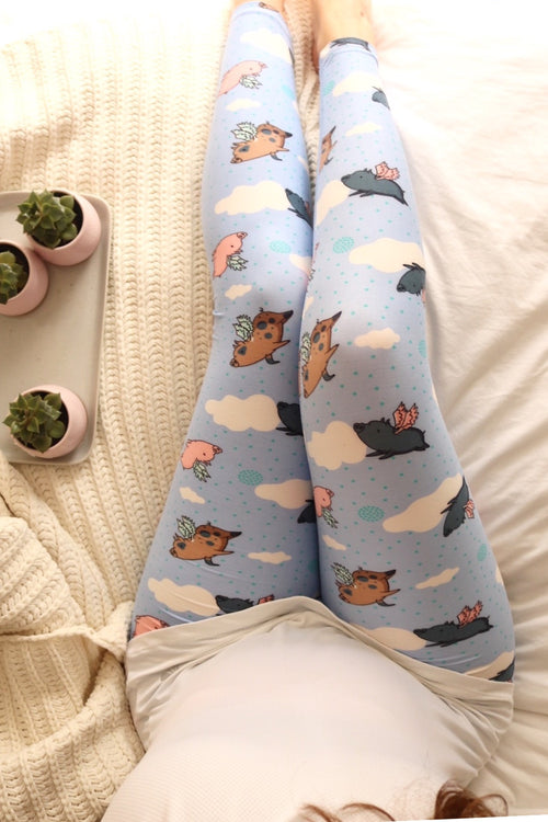 piglet buttery Soft Microfiber High Waist Fashion Patterned Leggings for Women one size