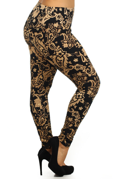 paisley buttery Soft Microfiber High Waist Fashion Patterned Leggings for Women plus size