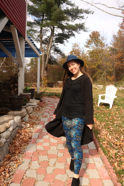 Yoga Waist Blue Swirl Print Leggings