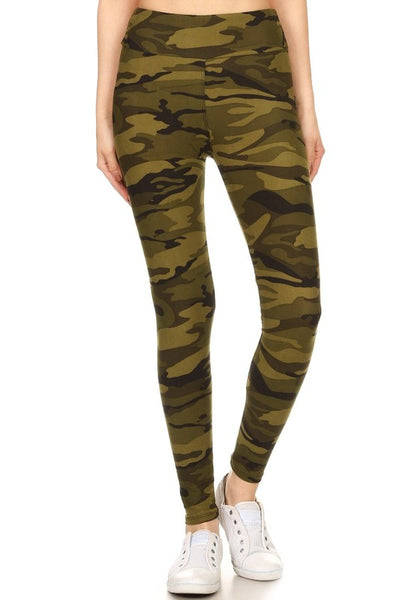 Yoga Waist Army Print Leggings