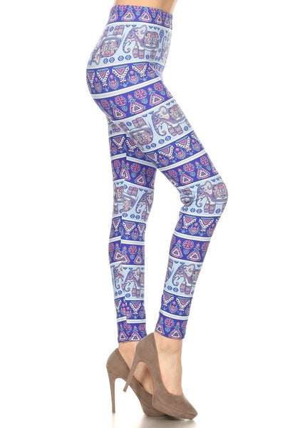 Purple Elephant Print QUEEN SIZE Leggings