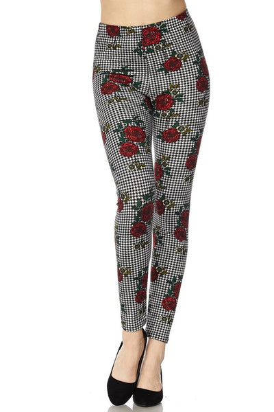 Pink/Houndstooth Rose Print QUEEN SIZE Leggings