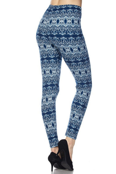 Blue Abstract Print QUEEN SIZE Leggings