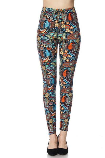 Multicolor Paisley Boho Print QUEEN SIZE Leggings