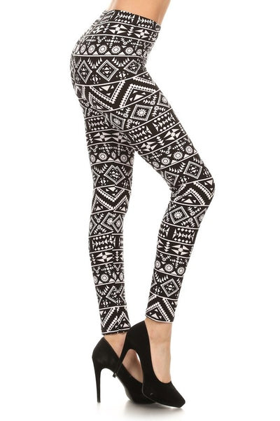 Black/White Tribal Print QUEEN SIZE Leggings