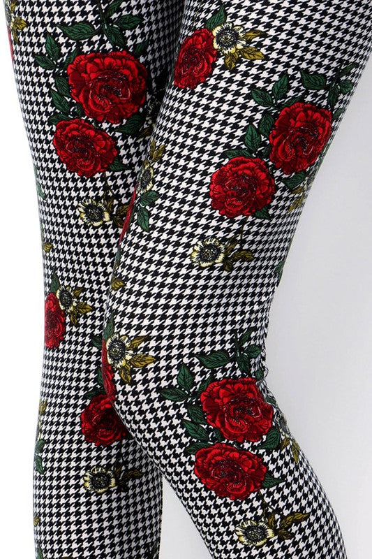 Houndstooth /Rose Print QUEEN SIZE Leggings