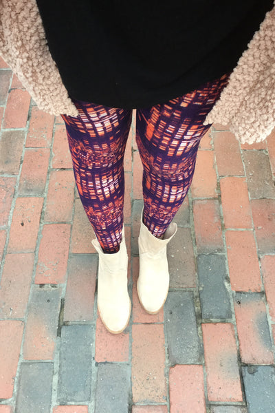 Orange/Purple Pixel Print Leggings