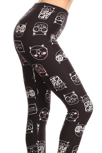 cute cat buttery Soft Microfiber High Waist Fashion Patterned Celebrity Leggings for Women one size