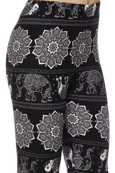 Ultra soft microfiber black and white elephant print leggings one size