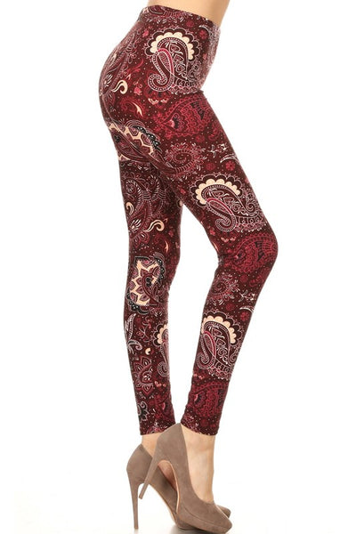 Burgundy Paisley Boho Print QUEEN SIZE Leggings