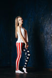 Ultra soft microfiber American flag print leggings one size