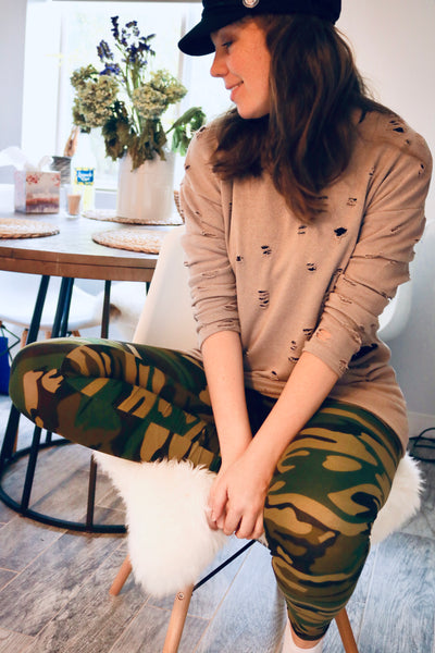Khaki Ripped Fashion Top