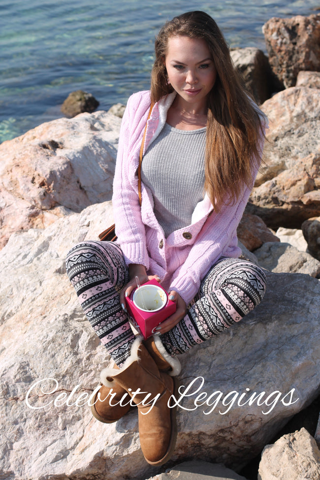 pink grey white nordic sweater knit print christmas holiday festive buttery Soft Microfiber High Waist Fashion Patterned Celebrity Leggings for Women plus size