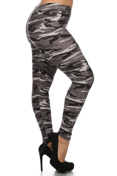 Grey Army Print Queen Size Leggings