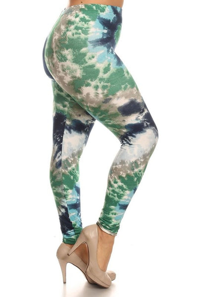 green blue tie dye buttery Soft Microfiber High Waist Fashion Patterned Celebrity Leggings for Women plus size