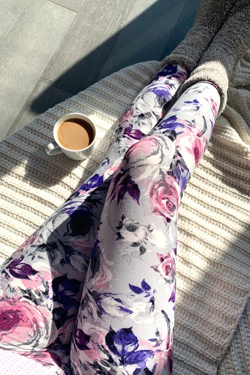 Pink Floral Print QUEEN SIZE Leggings