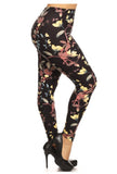 yellow black flower buttery Soft Microfiber High Waist Fashion Patterned Celebrity Leggings for Women plus size